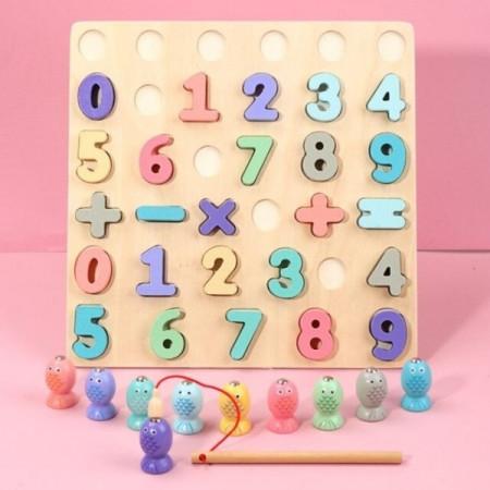 Puzzle incastru Montessori Cifre si Operatii Matematice, Joc de pescuit.
