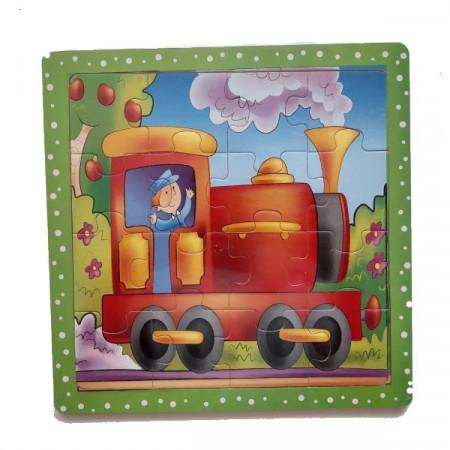 Puzzle lemn 16 piese. Puzzle educativ Locomotiva.