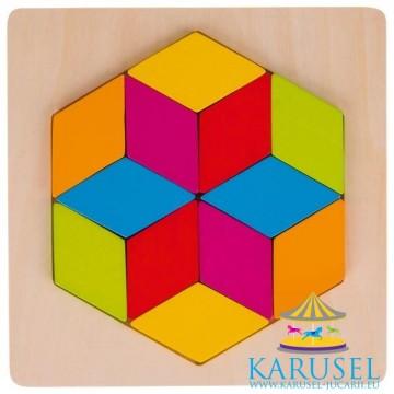 Puzzle tangram Diamant, Goki. Puzzle educativ Montessori.