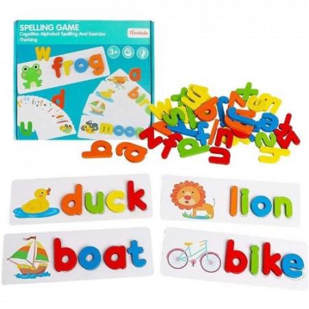 Joc de ortografie ABC din lemn. Joc educativ cu litere in limba engleza.