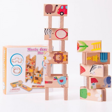 Joc educativ puzzle domino din lemn. Jucarii si Jocuri Montessori din lemn.
