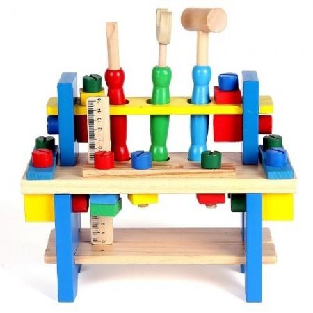 Jucarie educativa Banc de lucru din lemn cu ciocan si surubelnita. Joc de rol.