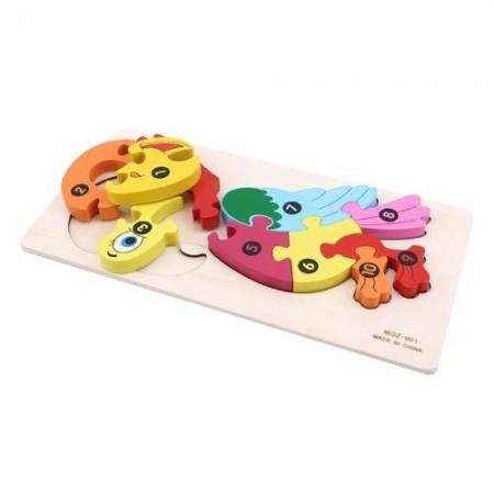 Jucarie educativa Puzzle lemn incastru Papagal cu cifre
