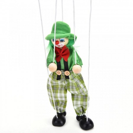 Jucarie Marioneta cu sfori, Papusar din lemn si textil cu sfori.Jucarii si Jocuri Montessori din lemn