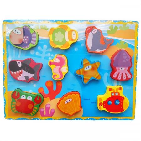 Puzzle incastru Marin. Puzzle educativ Montessori.