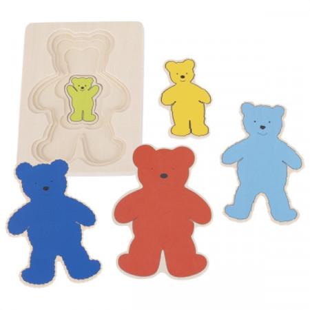 Puzzle incastru multistrat Ursuleti, Goki, Puzzle educativ Montessori.