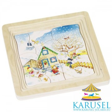 Puzzle multistrat 4 Anotimpuri, Goki. Puzzle educativ Montessori.