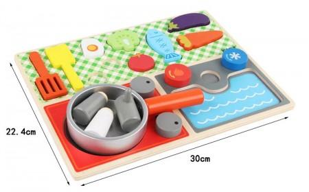 Set joaca mini bucatarie lemn, Joc de rol din lemn.
