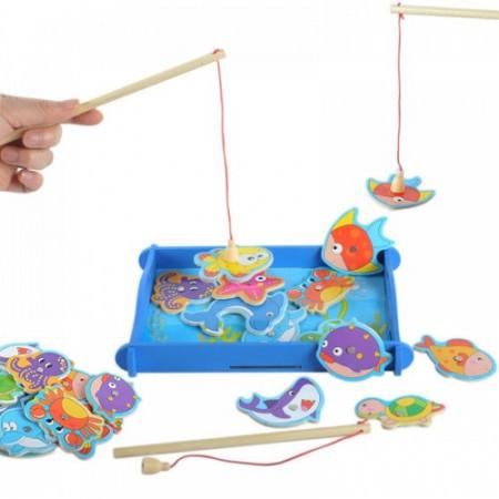 Joc de pescuit din lemn. Joc educativ Montessori.