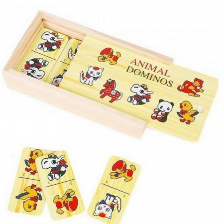 Joc Domino cu piese din lemn.Jucarii lemn si Jocuri educative Montessori.