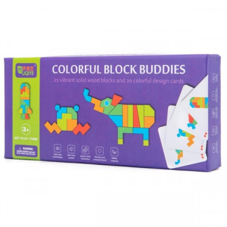 Joc educativ Tangram Buddies 21 piese. Joc Montessori.
