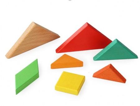 Joc educativ Tangram lemn. Joc Montessori.