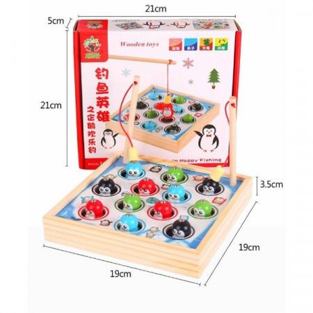 Joc pescuit magnetic Pinguini veseli. Joc lemn Montessori.