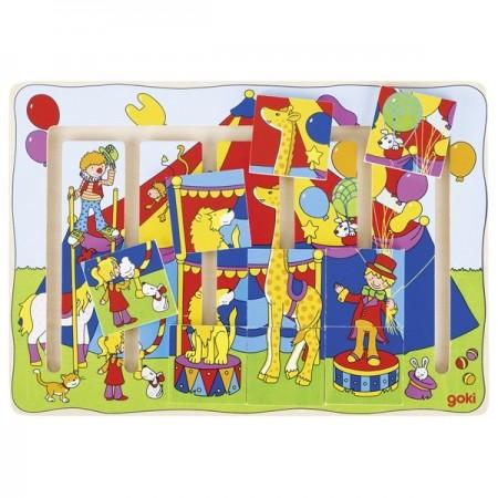 Joc puzzle culisant labirint La Circ, slide puzzle, Goki, Jocuri si Jucarii Montessori din lemn