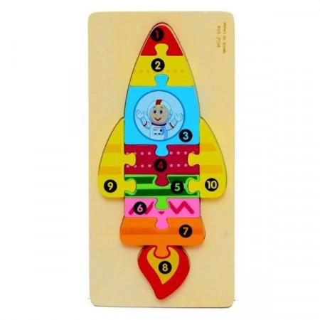 Jucarie educativa Puzzle lemn incastru Racheta cu cifre.