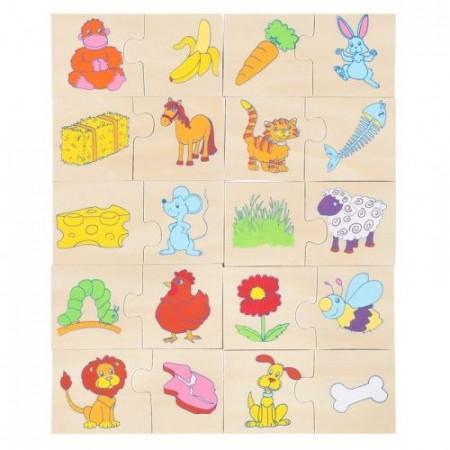 Puzzle JigSaw Asocieri, Ce mananca animalele? Puzzle educativ Onshine.