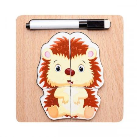 Puzzle lemn incastru, Puzzle magnetic cu marker.