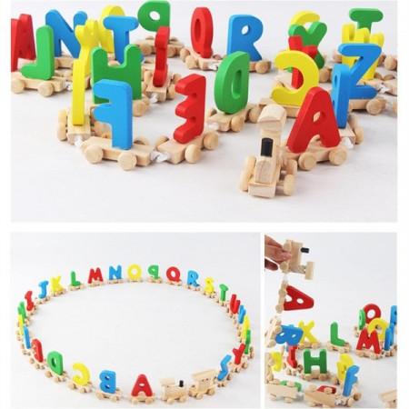 Jucarie Alfabet, Tren din lemn cu litere.