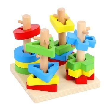 Jucarie educativa din lemn Sortator complex 4 coloane Multicolor