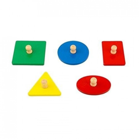 Puzzle Montessori, Puzzle incastru cu buton din lemn Forme Geometrice.
