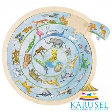 Puzzle rotund JigSaw Cercul Animalelor, Goki. Puzzle educativ Montessori.