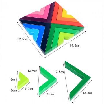 Set constructii lemn Curcubeu Spielmath. Joc educativ Montessori.