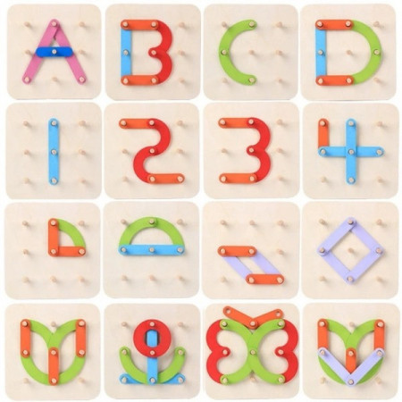 Joc creativ Geoboard din lemn cu litere si cifre. Joc educativ Montessori.