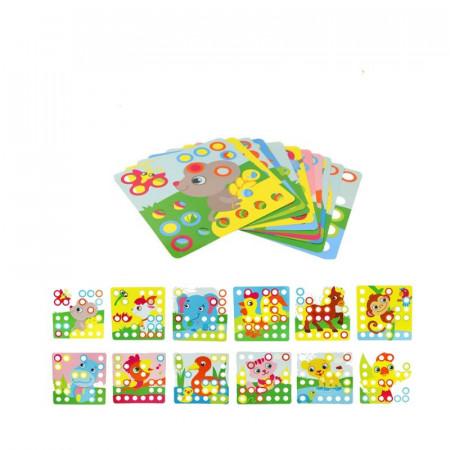 Joc creativ mozaic Genius Art, 12 planse si 35 de piese.
