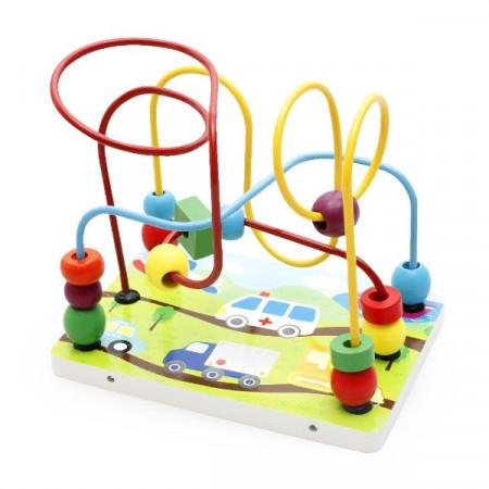 Jucarie din lemn, Spirala Labirint cu bile. Jucarie Montessori.
