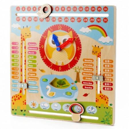 Jucarie Montessori, Calendar si ceas din lemn in limba engleza.
