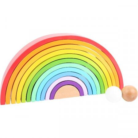 Jucarie Montessori Curcubeu 14 piese, Wooden Building Blocks Rainbow XL Small Foot.