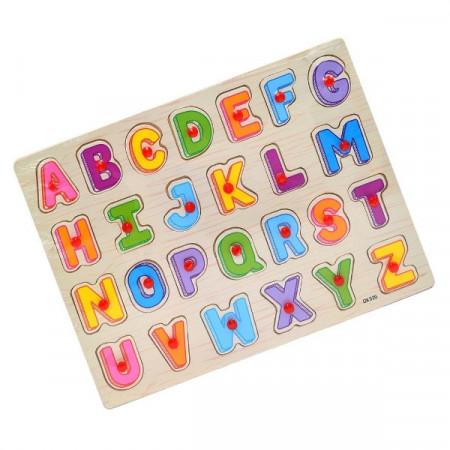 Puzzle incastru cu buton Alfabet litere mari de tipar. Puzzle educational.