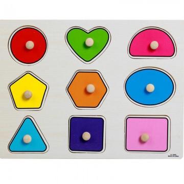 Puzzle incastru cu buton, Forme geometrice. Puzzle educativ din lemn.