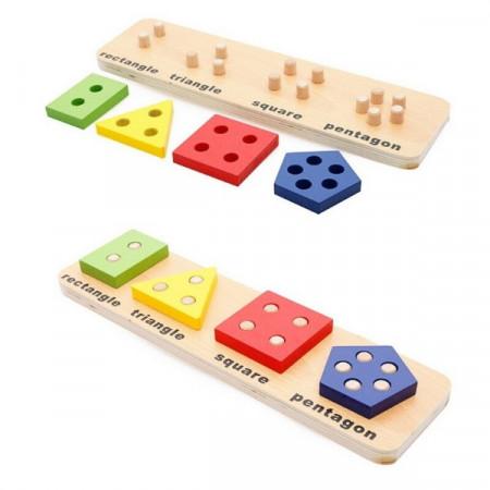 Sortator lemn Forme Geometrice, Incastru educativ Montessori.