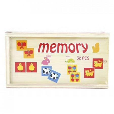 Joc educativ Montessori de memorie si asociere Onshine, 32 de piese din lemn.
