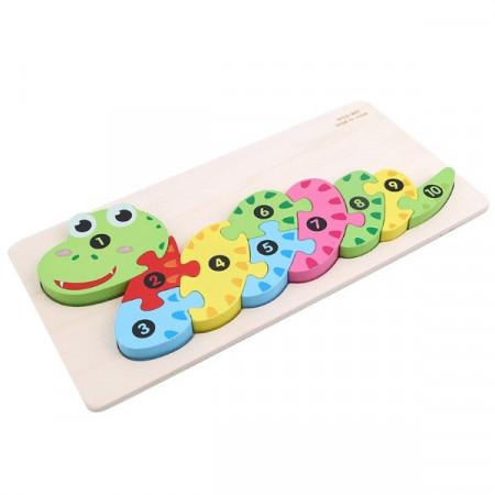 Jucarie educativa Puzzle lemn incastru Sarpe cu cifre.