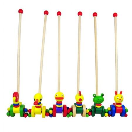 Jucarie lemn de impins Animalute Colorate. Jucarii si Jocuri Montessori din lemn.