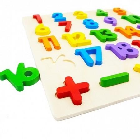 Puzzle incastru din lemn Cifre 1-20. Puzzle educativ Montessori.