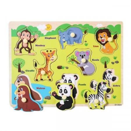 Puzzle incastru din lemn cu buton Animale Salbatice. Puzzle Montessori.