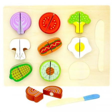 Puzzle incastru, Set taiat legume 9 piese din lemn. Jucarie Montessori.