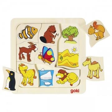 Puzzle incastru Unde traiesc animalele? Goki