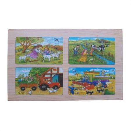 Puzzle JigSaw, 48 piese - 4 planse. Puzzle lemn pentru copii.