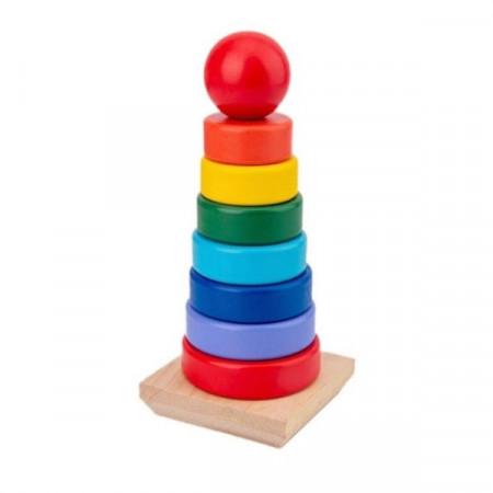 Turn cu inele din lemn Piramida Curcubeu. Jucarie Montessori Rainbow Stacker.