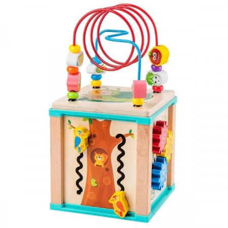 Cub din lemn cu activitati In natura. Cub educativ multifunctional 5 in 1.