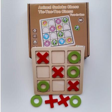 Joc de logica 2 in 1, X si O – Sudoku cu Animale. Joc educativ din lemn.