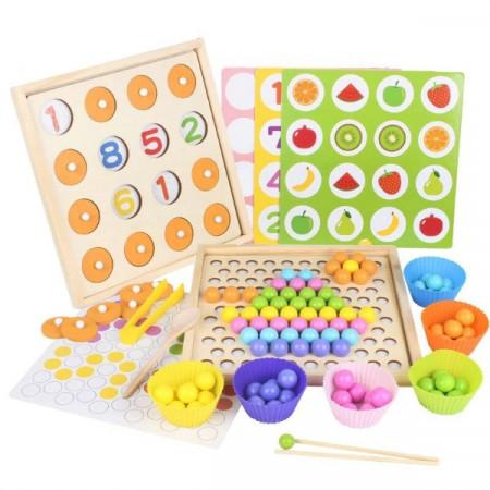 Joc educativ Montessori, 2 in 1, Memorie si Mozaic - Asociere Culori.