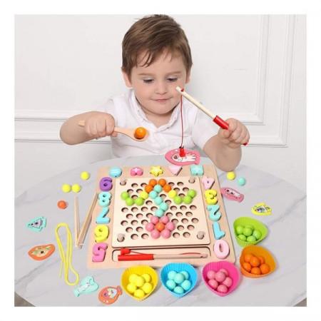 Joc educativ Montessori, 5 in 1, Pescuit magnetic, Mozaic si Snuruit.