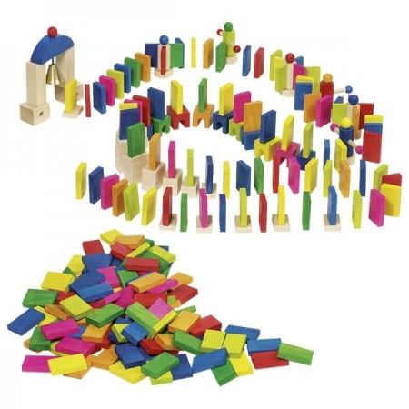 Joc pentru copii Domino complex 247 de piese, Joc de constructie Goki, Jocuri si Jucarii Montessori din lemn