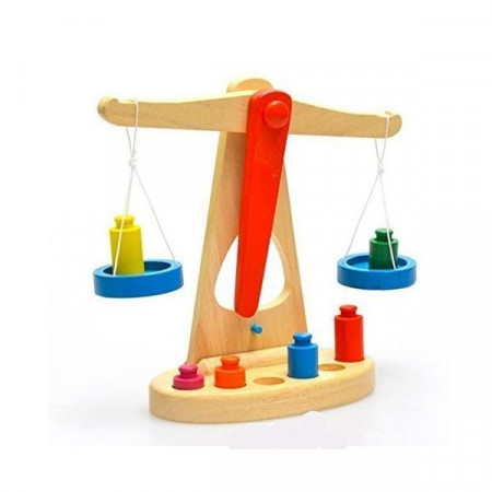 Jucarie Montessori Balanta din lemn cu 6 greutati si talere colorate. Jucarie educativa.