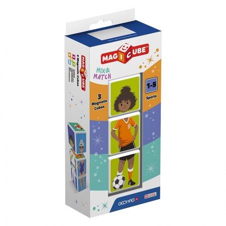 Puzzle educativ magnetic Geomag Magicube Sport.